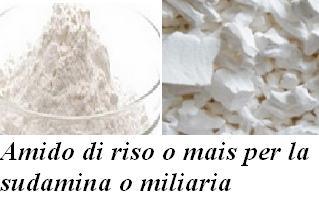 Amido di riso o di mais per la sudamina o miliaria