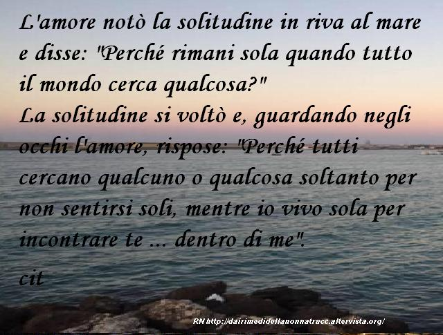Immagine frase L'amore notò la solitudine...